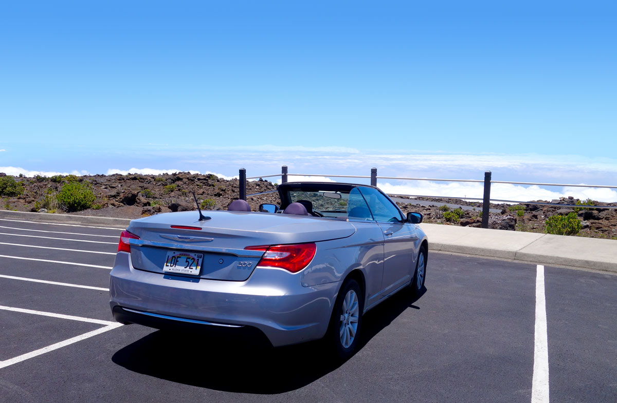 Chrysler 200 Convertible parked at the top of Haleakala on Maui